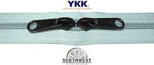 YKK Nylon Coil Zipper Tape # 10 Dusty Blue 10 yards with 10 Black Zipper Sliders