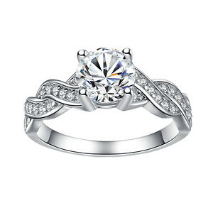 925-Sterling-Silver-Cubic-Zirconia-Round-Cut-CZ-Infinity-Women-039-s-Engagement-Ring