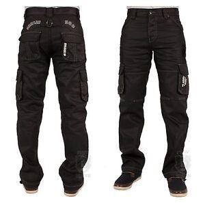 Para-Hombre-Enzo-Cargo-Pantalones-Jeans-combate-de-ultima-moda-Inteligente-Negro-Revestido-Tallas-28