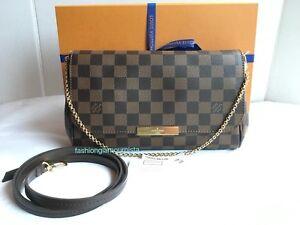 7253261a591c Auth BNIB Louis Vuitton Favorite MM Damier Ebene Canvas Bag Pochette ...