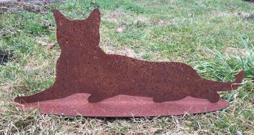 Katze liegend 45x18cm Rost Edelrost Rostfigur Gartendekoration Kater Deko