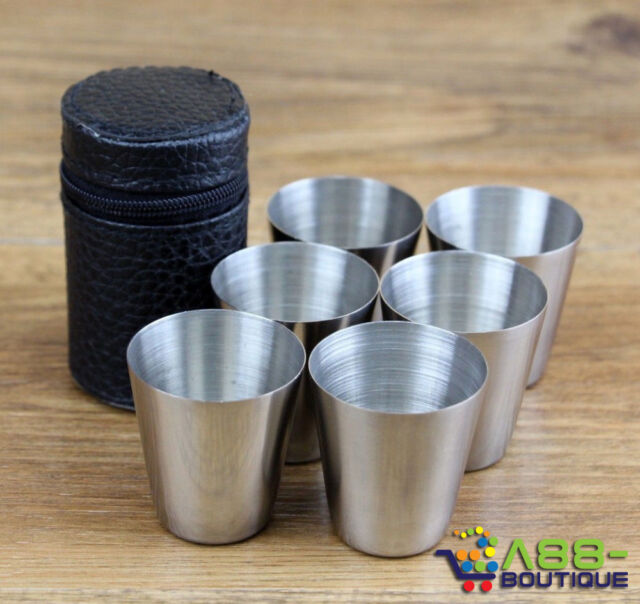 6pcs/Set 30ml Cups Wine Beer Coffee Whiskey Mugs Outdoor Travel Cup + Bag Case