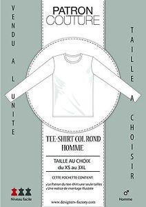 Patron-Tee-shirt-homme-col-034-Rond-034-ML-Vendu-a-la-taille-Au-choix-du-XS-au-3XL