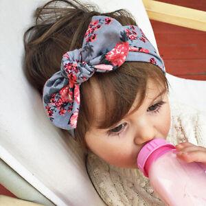 Bandeau-Vintage-pour-bebe-filles-Floral-Headband-N-ud-d-039-arc-Elastique