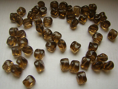 lot de 100 perle en verre jaune  pampille lustre cube ovale perle vintage