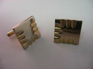 Modernist-Design-Deep-Grooves-Faded-Gold-Tone-Vintage-Mens-Cufflinks-Jewelry