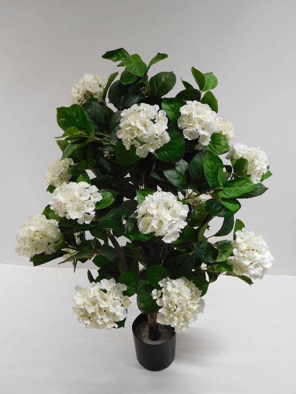 Hortensie Stamm Busch Kunstpflanze Dekobaum H 110 cm weiß getopft 335658-48 F29