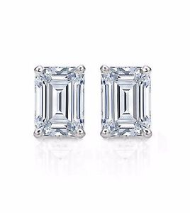 2-ct-Emerald-Cut-Solitaire-Stud-Earrings-Solid-14k-Real-White-Gold-Screw-Back