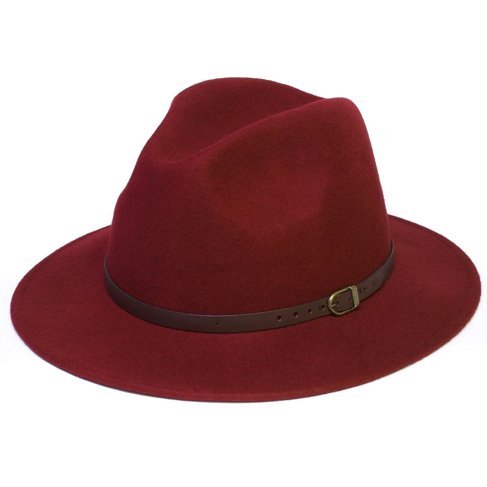 Wool Fedora Felt Trilby Hat with 1cm Wide Faux-Leather Belt Ladies Womens Mens Unisex Hat
