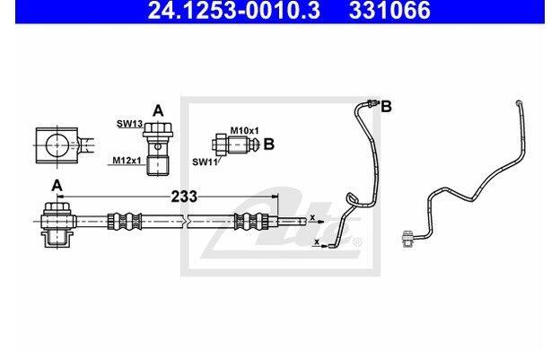 ATE Tubo flexible de frenos PEUGEOT SEAT CITROEN VOLKSWAGEN GOLF 24.1253-0010.3