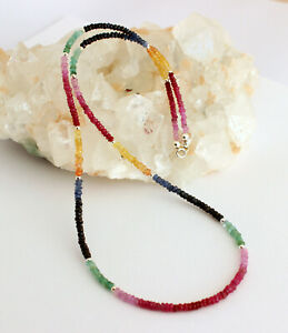 Rubin-Saphir-Smaragd-Kette-edelsteinkette-Regenbogenkette-Bunt-Collier-Edel-47cm