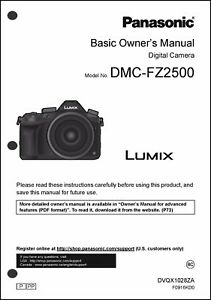 panasonic lumix dmc fz2500 basic camera user guide instruction rh ebay com panasonic dmc zs6 user manual