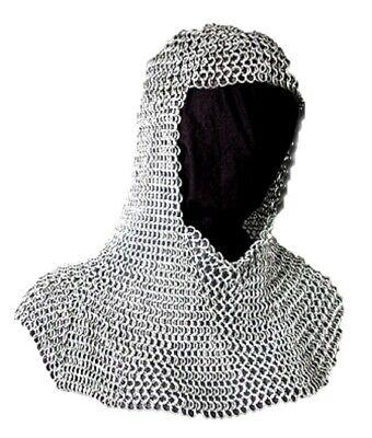 "Templar Chainmail Coif Knight Choice Light Weight Big Span Aluminum 16 Gauge 20/"""