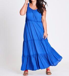 Plus-Size-Autograph-Blue-Cheesecloth-Viscose-Dress-Size-16-Free-Post