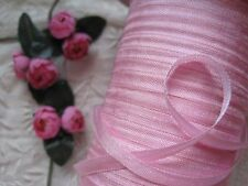 VINTAGE / ANTIQUE FRENCH DOLL SIZE PINK RAYON RIBBON 4 YARDS