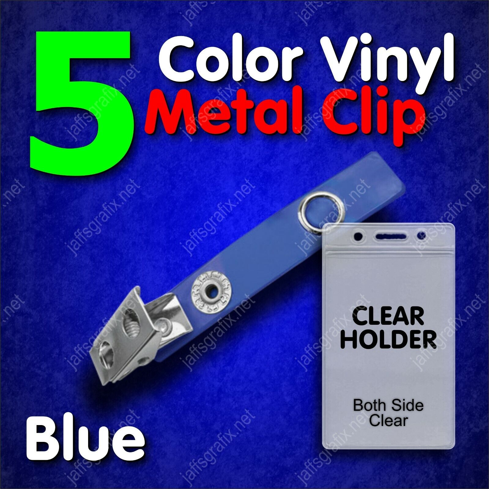 Color Metal ID Badge Holder Clip with Clear Holder Vertical