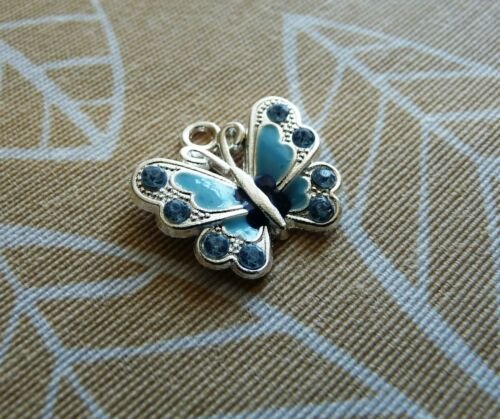4x Blue Enamel Butterfly Charms for Bracelet Rhinestone Necklace Pendant Silver