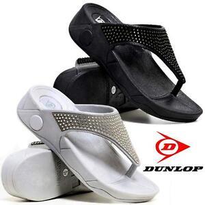 5bc7dbcc7d1b6 Ladies Low Wedge Heel Comfort Walking Fit Flip Flops Fitness Toning ...