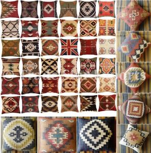 Indian-Hand-Woven-Kilim-Jute-Cushion-Cover-18X18-034-Vintage-Rug-Throw-Pillow-Cases