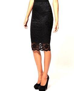 black floral lace pencil skirt size 6 8