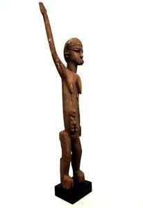 Art-Africain-Premiers-Ancienne-Maternite-Lobi-Bras-Leve-Sur-Socle-82-5-Cms
