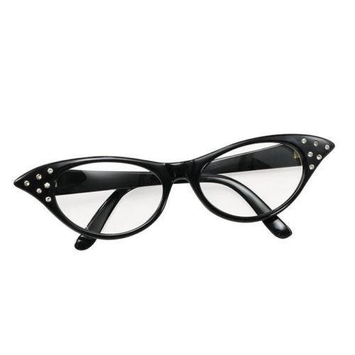 Women/'s Girls 50s 60s Rock Roll Retro Grease Cat Eye Glasses Ladies Fancy Dress