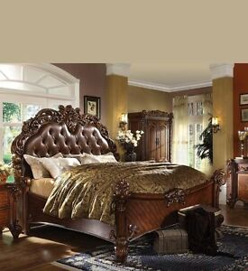 Details about Formal Luxury Antique Vendome Cherry Finish Queen Size Bed  Bedroom Furniture