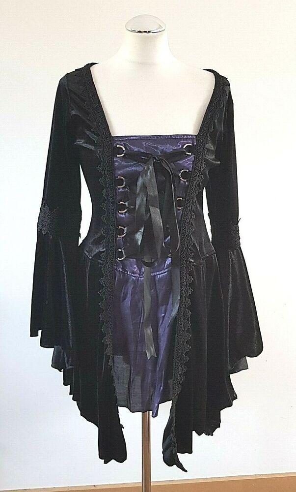 Sinister Gothique Velours Noir Mini Robe Gothique Patineuse Uk 14 L Large Corset Rrp £ 70
