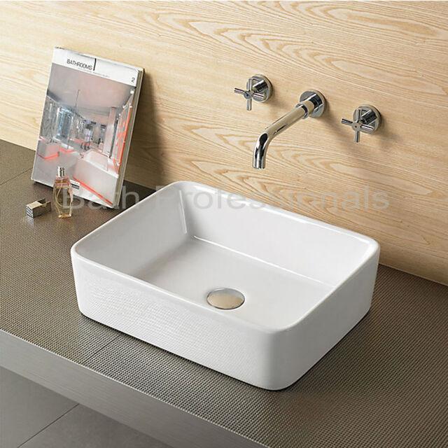 Basin Sink Countertop Cloakroom Bathroom Corner Modern Bowl Square Ceramic 334