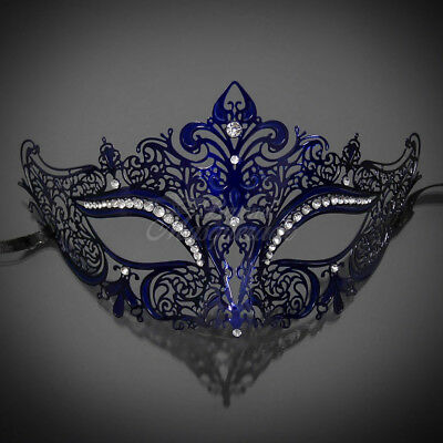 Dark Blue Luxury Light Metal Filigree Venetian Masquerade Mask for Women