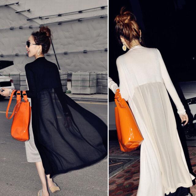 Damen Langarm Chiffon Cardigan Maxi Long Kleid Bluse Jacke Mantel Tops 5 Farbe