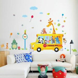 Giraffe-Monkey-Panda-Go-To-School-By-Bus-Wall-Stickers-Decals-Removable-Stickers
