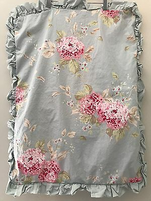 PAIR! Simply Shabby Chic Std PILLOW SHAMS Pair Belle Floral Blue Pink Hydrangea