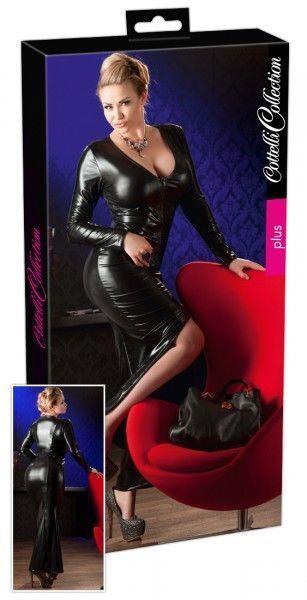 Cottelli Collection Plus Wetlook Kleid schwarz 4XL Dress Erotik Bekleidung | Zart  | Konzentrieren Sie sich auf das Babyleben  | Fein Verarbeitet  | Für Ihre Wahl  | Sorgfältig ausgewählte Materialien
