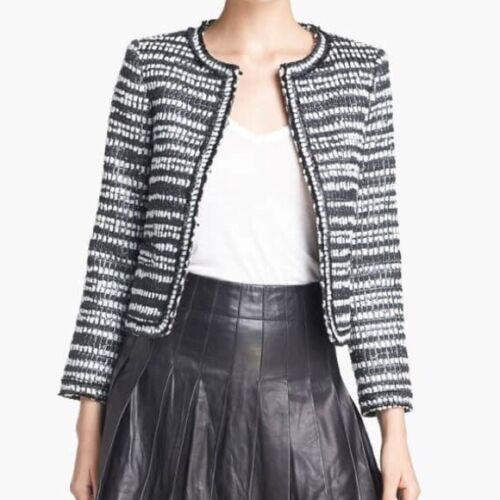 Alice + Olivia Kidman Boxy Open Front Tweed Jacket