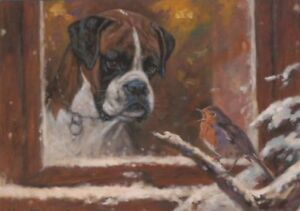 Black Labrador Puppy Dog Robin Christmas Xmas Painting Card