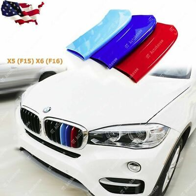 7 Grilles 3 Colors Front Grille Badge Insert Trim Strips Grill Cover Decor For X5 F15 2014-2017