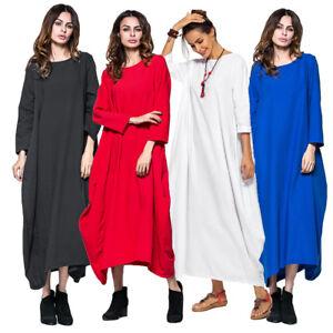 ff75f597ee Abaya Muslim Casual Women Cotton Linen Long Sleeve Maxi Dress Loose ...