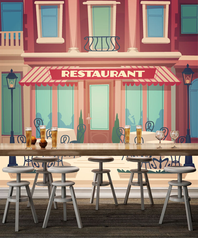 3D Restaurants, Cartoons Wall Paper Wall Print Decal Wall Indoor wall Murals