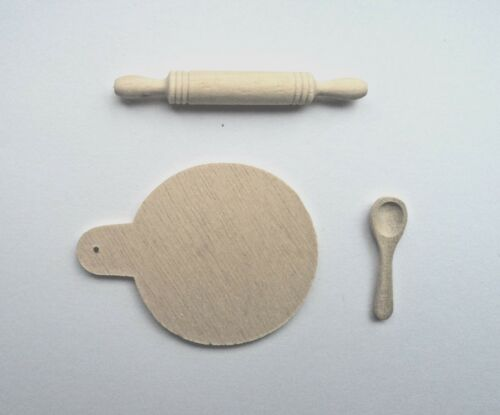 CASA delle Bambole Scala 12th Set da cucina in legno Cucchiaio /& Rolling Pin BASETTA
