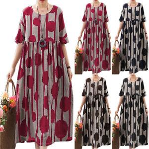 Womens-Summer-Short-Sleeve-Baggy-Kaftan-Long-Shift-Dress-Plus-Size