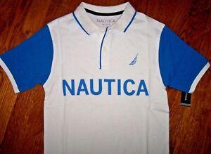 NWT Nautica Boys White SKY Blue Cotton COLORBLOCK Polo Shirt M 10 12 ... 96f18cd3ad3