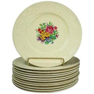 12 Antique English Royal Cauldron Embossed Porcelain Dinner Plates, circa 1900