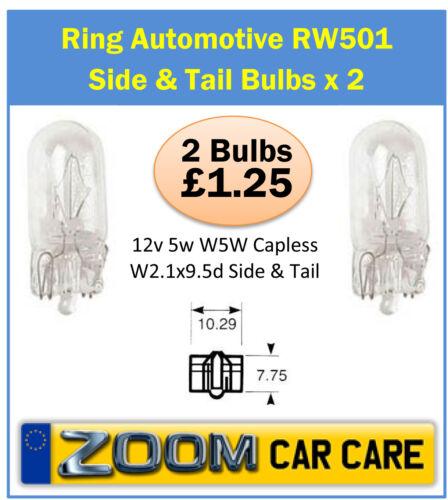 501 Capless Side /& Tail Bulb 2 Pack 12v 5w W5W Capless W2.1x9.5d Side /& Tail 501