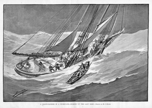 GRAND-BANKER SAIL-BOAT SAILING SLOOP IN A HURRICANE