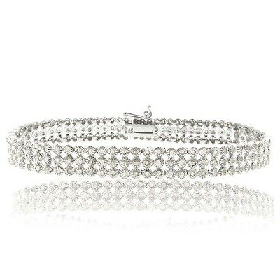 925 Silver 2 CARAT Diamond Three Row Tennis Bracelet - IJ-I3