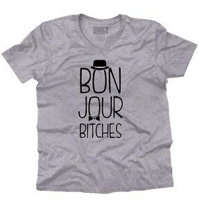 Bonjour-B-es-French-Sarcastic-Humor-Gift-V-Neck-T-Shirts-Tshirt-For-Womens