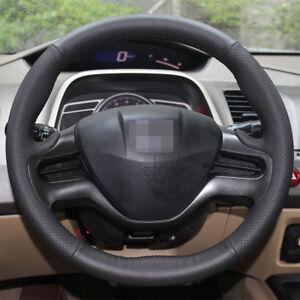 Genuine Leather Car Steering Wheel Cover for 3 Spoke 8th Honda Civic 2006 2007 2008 2009 2010 2011 Hand Sewing Steering Wrap Black