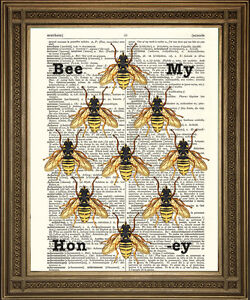 Bumble Bees Print Bee My Honey Artwork On Vintage Dictionary Page