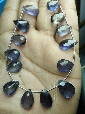Natural Iolite Faceted Pear Gemstone Loose Beads 10-14 mm 8 Strand 11592